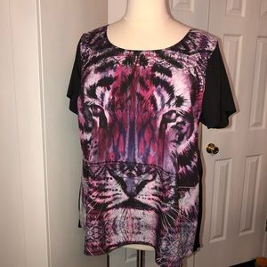 City Chic Tiger High-Low Blouse Size 20W